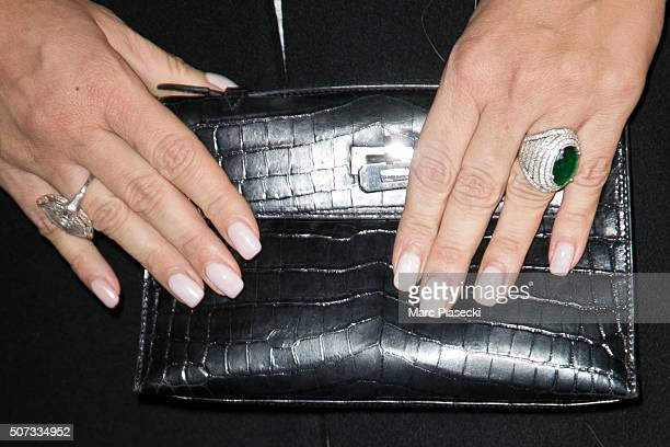 Kasia Al Thani ring detail attends the 'De Grisogono' La Boetie cocktail on January 28 2016 in Paris France