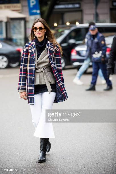 Kasia Borowicz wearing a Claudie Pierlot trench is seen outside Giorgio Armani show during Milan Fashion Week Fall/Winter 2018/19 on February 24 2018...