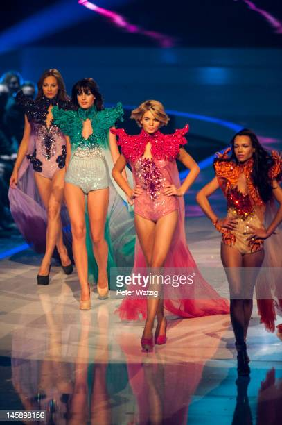 Kasia Lenhard SarahAnessa Hitzschke Luisa Hartema and Dominique Miller during the Germany's Next Topmodel Finals at the LanxessArena on June 07 2012...