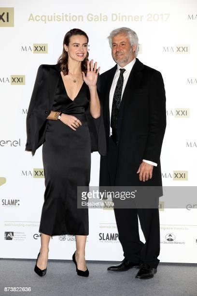 Kasia Smutniak and Domenico Procacci attend MAXXI Acquisition Gala Dinner 2017 at Maxxi on November 13 2017 in Rome Italy