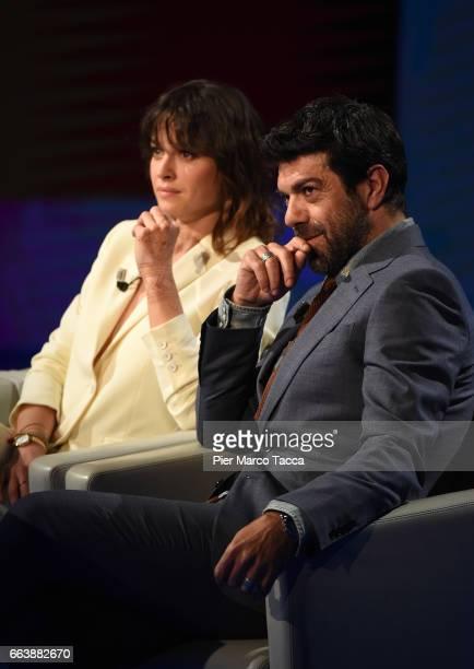 Kasia Smutniak and Pierfrancesco Favino attend 'Che Tempo Che Fa' tv show on April 2 2017 in Milan Italy