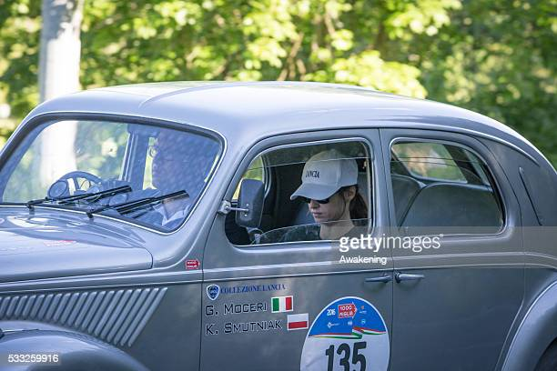 Kasia Smutniak pass on the road of the Futa Pass towards Bologna during the Millle Miglia on May 21 2016 in Bologna Italy