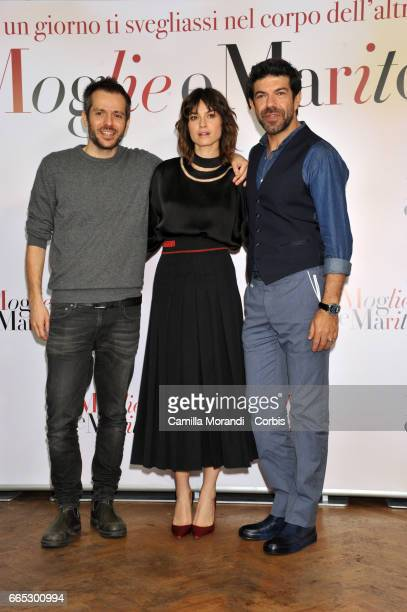 Kasia Smutniak Pierfrancesco Favino and Simone Godano attend 'Moglie e Marito' Photocall on April 6 2017 in Rome Italy