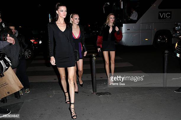 Kasia Struss Ginta Lapina and Daria Strokous arrive at the Balmain After Show Party at 'Laperouse' restaurant as part of the Paris Fashion Week...