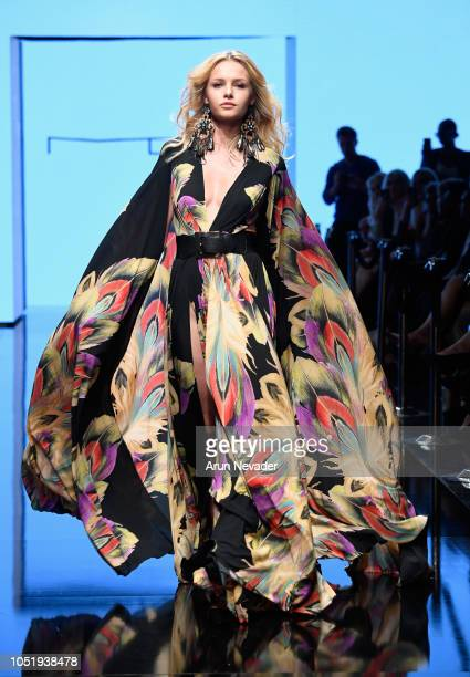 Kasia Szklarczyk walks the runway wearing Michael Costello at Los Angeles Fashion Week Powered by Art Hearts Fashion LAFW SS/19 at The Majestic...