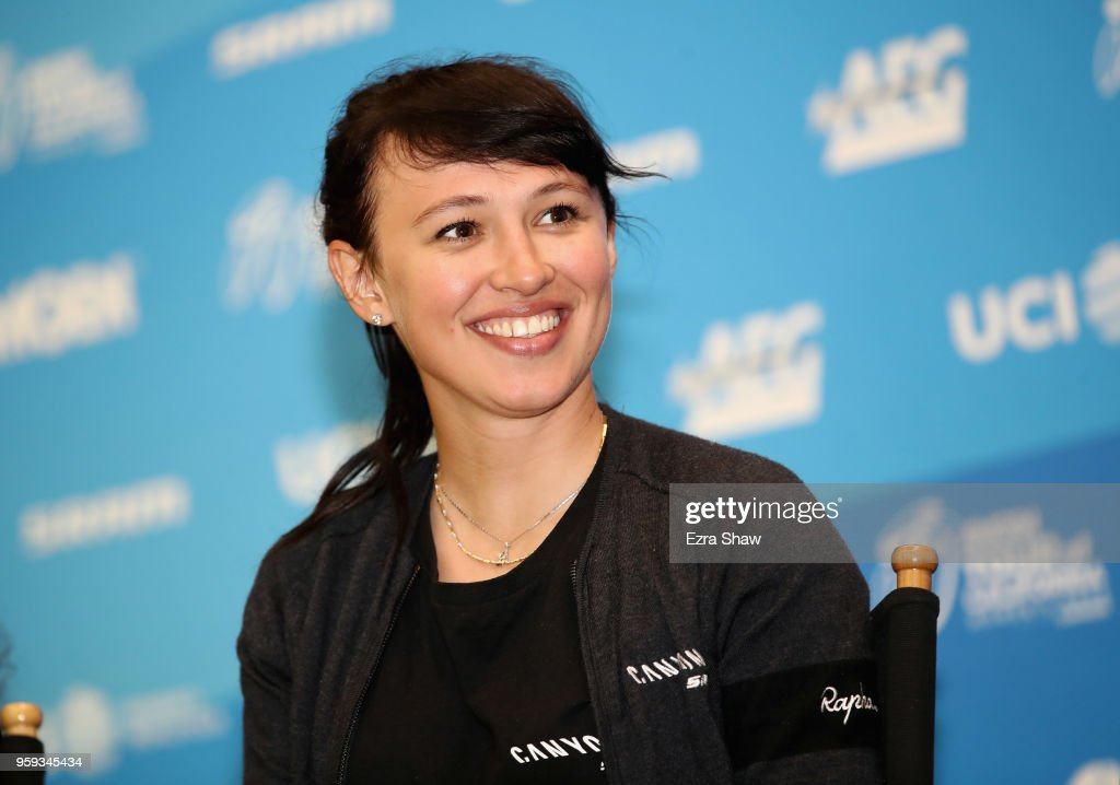KasiaÊNiewiadomaÊof Poland riding for Canyon/SRAM Racing speaks to the media at the pre-race press event for the Amgen Tour of California Women's Race Empowered with SRAM at the Elk Grove Regional Park Pavilion on May 16, 2018 in Elk Grove, California.