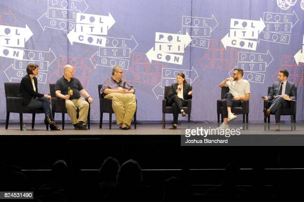 Kasie Hunt Frank Rich David Mandel Clea Duvall Tim Simons and Ari Melber at the 'Meet Veep' panel during Politicon at Pasadena Convention Center on...