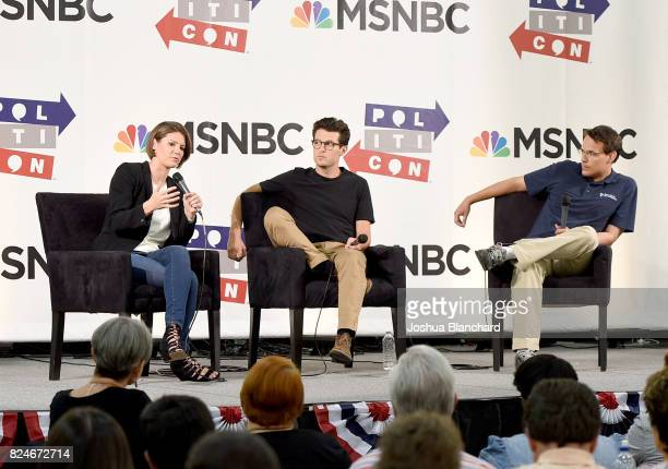 Kasie Hunt Jacob Soboroff and Steve Kornacki at the 'MSNBC Lessons From The Road' panel during Politicon at Pasadena Convention Center on July 30...