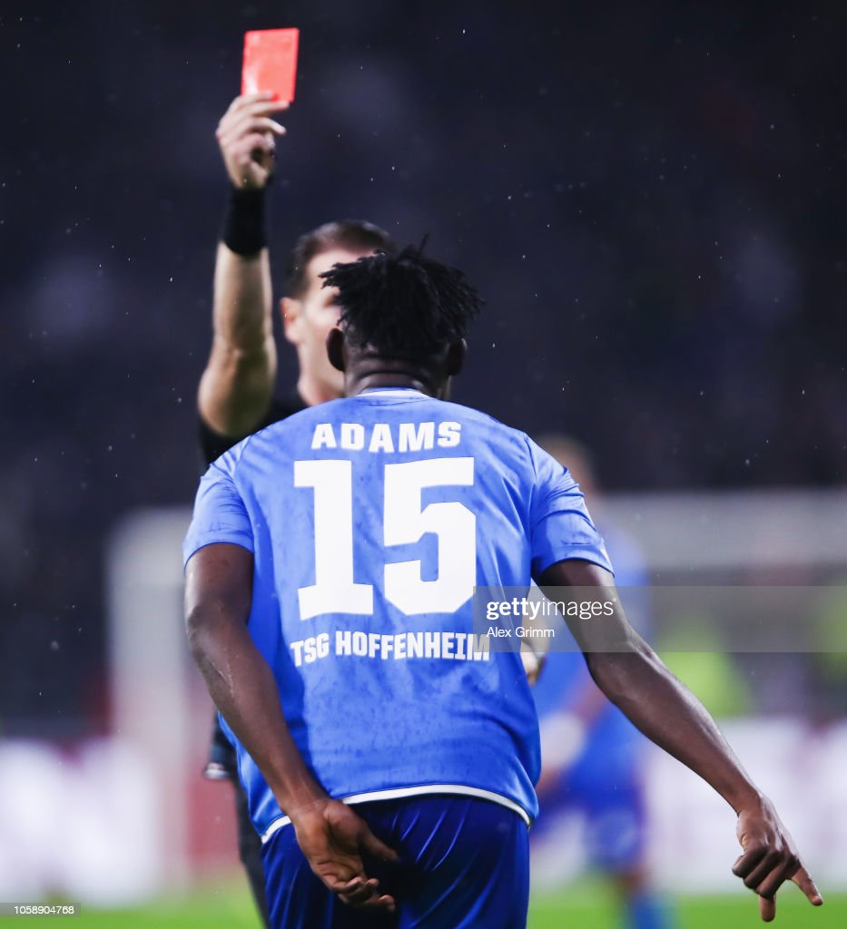 Kasim Adams Nuhu of Hoffenheim is sent off with a red card by referee...  News Photo - Getty Images