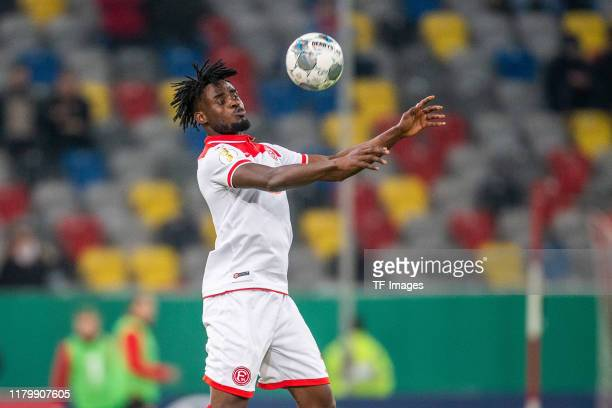 Kasim Adams of Fortuna Duesseldorf controls the ball during the DFB Cup second round match between Fortuna Duesseldorf and Erzgebirge Aue at Merkur...