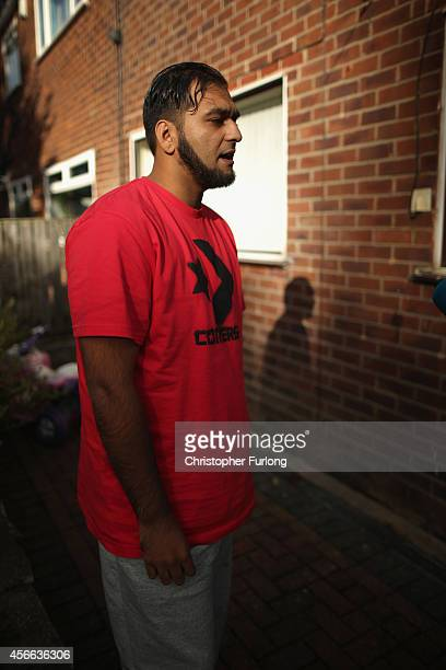 Kasim Jameel aid convoy organiser and friend of murdered British aid worker Alan Henning talks to the media at his home on October 4 2014 in Bolton...