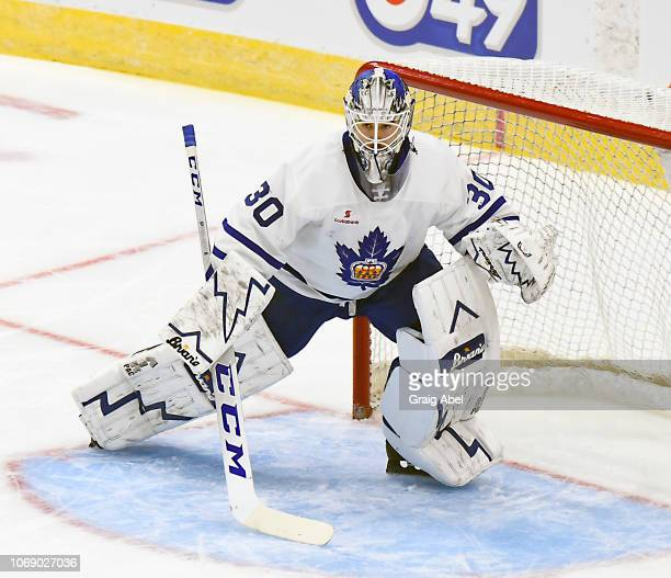 Kasimir Kaskisuo prepares for a shot against the Binghamton Devils during AHL game action on November 17 2018 at CocaCola Coliseum in Toronto Ontario...