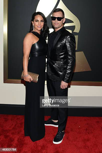 Kaskade and wife Naomi Raddon attend The 57th Annual GRAMMY Awards at the STAPLES Center on February 8 2015 in Los Angeles California