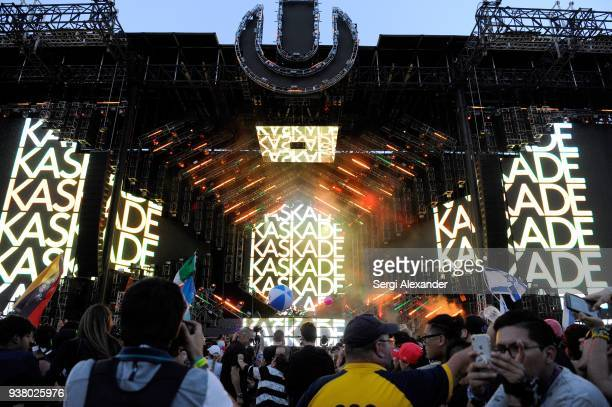 Kaskade performs on stage at Ultra Music Festival at Bayfront Park on March 25 2018 in Miami Florida