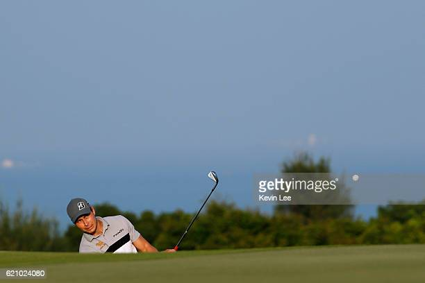 Kaske Janne in action on the 9th green during day two of the Clearwater Bay Open at the Clearwater Bay Golf Country Club on November 4 2016 in Hong...