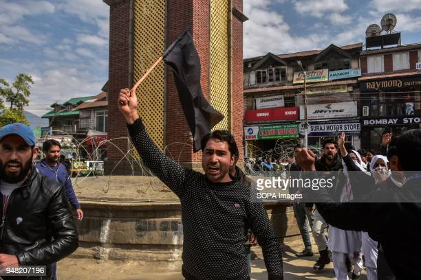 Kasmiri demonstrator shouts slogans during a protest rally against the rape and murder of an eightyearold girl in Srinagar Indian administered...