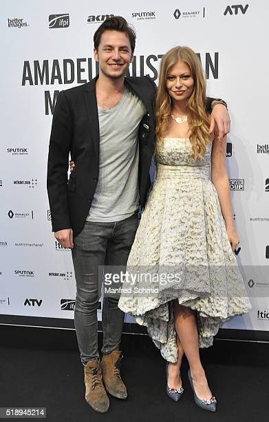 Kaspar Leuhusen and Zoe Straub attend the Amadeus Austrian Music Award - Red Carpet at Volkstheater on April 3, 2016 in Vienna, Austria.