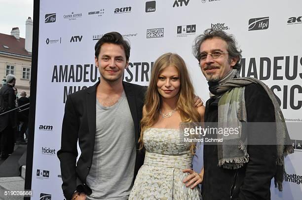 Kaspar Leuhusen, Zoe Straub and Christof Straub attend the Amadeus Austrian Music Award - Red Carpet at Volkstheater on April 3, 2016 in Vienna,...