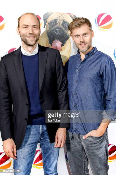 Kaspar Pflueger and German actor Jens Atzorn attend the SAT1 Fiction photo call on September 26 2018 in Hamburg Germany