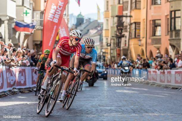 Kasper Asgreen of Denmark and Robert Britton of Canada in lead at the fourth lap during the Men Elite Road Race of UCI 2018 Road World Championships...