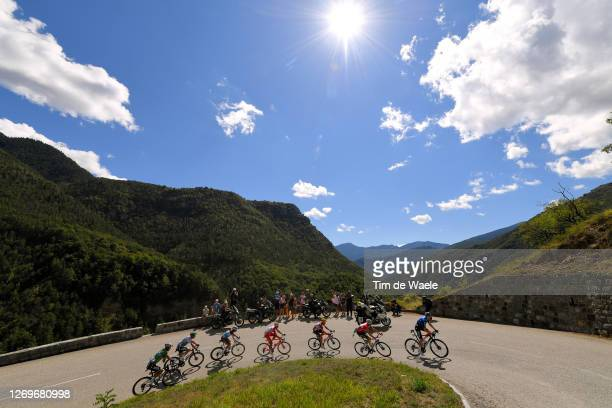 Kasper Asgreen of Denmark and Team Deceuninck - Quick-Step / Benoit Cosnefroy of France and Team Ag2R La Mondiale / Toms Skujins of Latvia and Team...