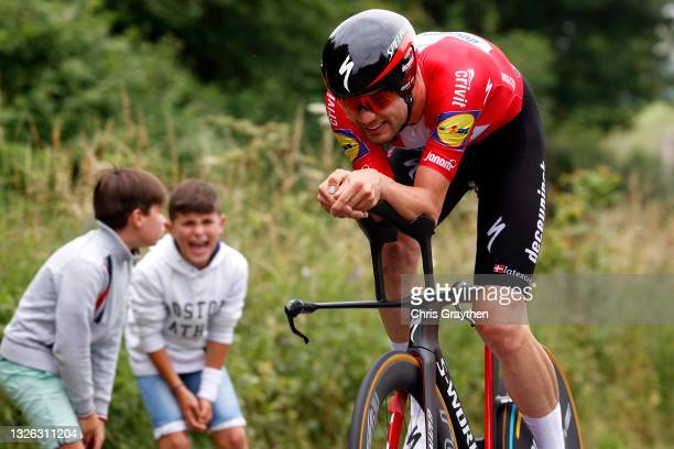 Kasper Asgreen of Denmark and Team Deceuninck - Quick-Step during the 108th Tour de France 2021, Stage 5 a 27,2km Individual Time Trial stage from...