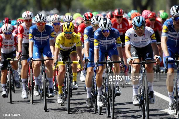Kasper Asgreen of Denmark and Team Deceuninck - Quick-Step / Julian Alaphilippe of France and Team Deceuninck - Quick-Step Yellow Leader Jersey /...