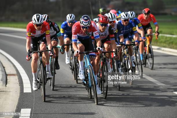 Kasper Asgreen of Denmark and Team Deceuninck - Quick-Step, Mathieu Van Der Poel of Netherlands and Team Alpecin-Fenix & Matteo Trentin of Italy and...