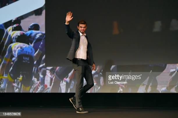 Kasper Asgreen of Denmark and Team Deceuninck - Quick-Step waves to the crowd during the 109th Tour de France 2022 And 1st Tour de France Femmes 2022...