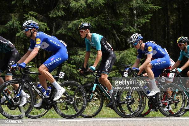 Kasper Asgreen of Denmark and Team QuickStep Floors / Lachlan Morton of Australia and Team Dimension Data / Remi Cavagna of France and Team QuickStep...