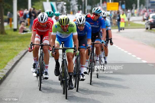 Kasper Asgreen of Denmark / Luka Mezgec of Slovenia / Elia Viviani of Italy / Davide Cimolai of Italy / during the 25th UEC Road European...
