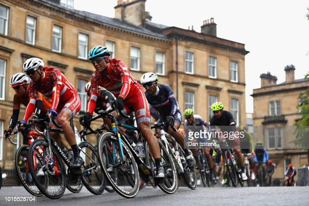 Kasper Asgreen of Denmark rides in the peloton in the Men's Road Race during the road cycling on Day Eleven of the European Championships Glasgow...