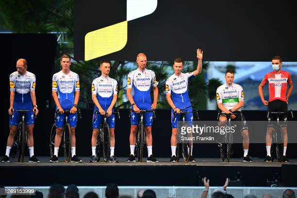 Kasper Asgreen of Denmark, Sam Bennett of Ireland, Remi Cavagna of France, Tim Declercq of Belgium, Dries Devenyns of Belgium, Bob Jungels of...