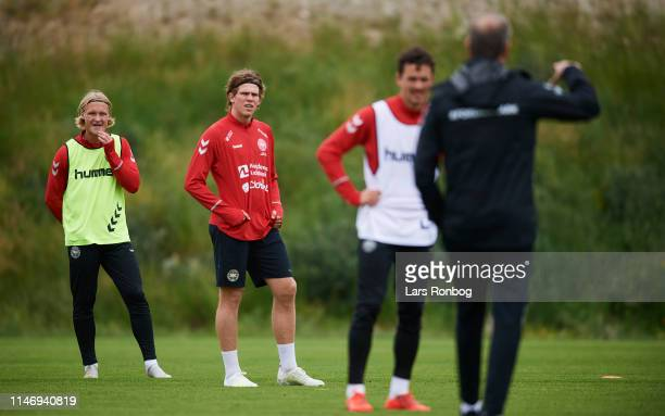 Kasper Dolberg Mads Bech Sorensen and Thomas Delaney listing to Age Hareide head coach during the Denmark training session at Brondby Stadion on May...