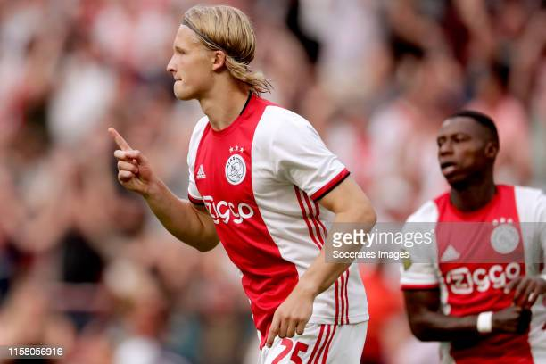 Kasper Dolberg of Ajax celebrates 10 during the Dutch Johan Cruijff Schaal match between Ajax v PSV at the Johan Cruijff Arena on July 27 2019 in...