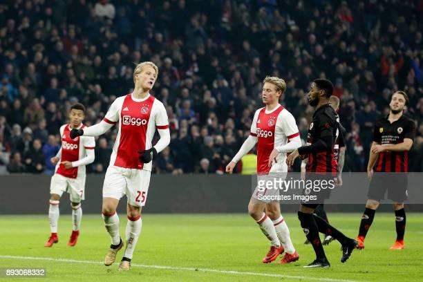 Kasper Dolberg of Ajax celebrates 21 during the Dutch Eredivisie match between Ajax v Excelsior at the Johan Cruijff Arena on December 14 2017 in...