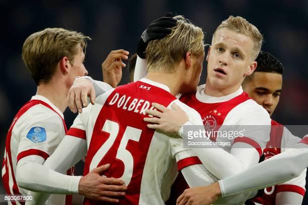 Kasper Dolberg of Ajax celebrates 21 with Donny van de Beek of Ajax during the Dutch Eredivisie match between Ajax v Excelsior at the Johan Cruijff...