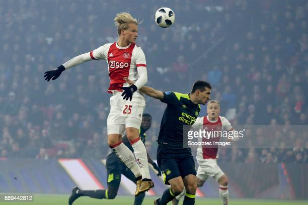 Kasper Dolberg of Ajax Daniel Schwaab of PSV during the Dutch Eredivisie match between Ajax v PSV at the Johan Cruijff Arena on December 10 2017 in...