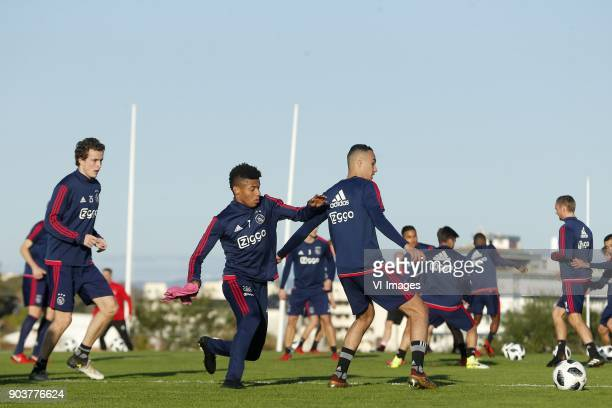 Kasper Dolberg of Ajax David Neres of Ajax Noussair Mazraoui of Ajax during a training session of Ajax Amsterdam at the Cascada Resort on January 08...