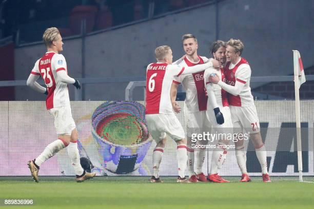 Kasper Dolberg of Ajax Donny van de Beek of Ajax Joel Veltman of Ajax Lasse Schone of Ajax Frenkie de Jong of Ajax during the Dutch Eredivisie match...