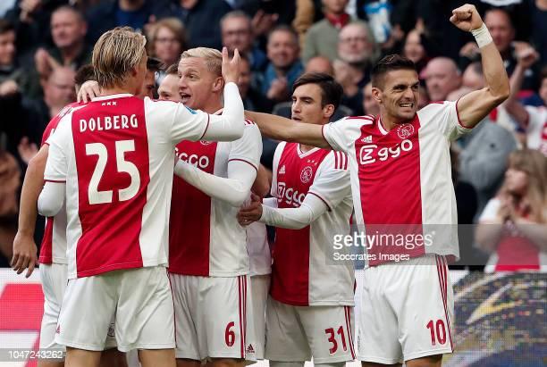 Kasper Dolberg of Ajax Donny van de Beek of Ajax Nicolas Tagliafico of Ajax Dusan Tadic of Ajax during the Dutch Eredivisie match between Ajax v AZ...