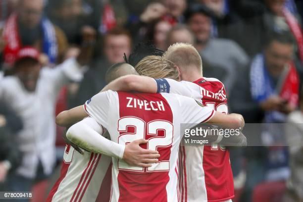 Kasper Dolberg of Ajax Hakim Ziyech of Ajax Bertrand Traore of Ajax Davy Klaassen of Ajaxduring the UEFA Europa League semi final match between Ajax...