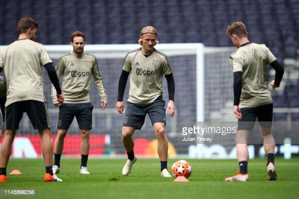Kasper Dolberg of Ajax in action during a training session ahead of their UEFA Champions League Semi Final first leg match against Tottenham Hotspur...