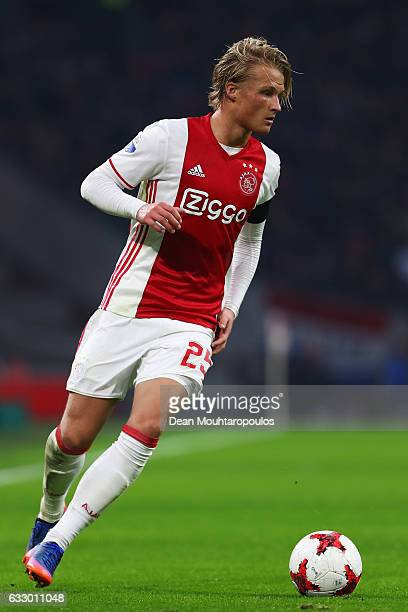 Kasper Dolberg of Ajax in action during the Eredivisie match between Ajax Amsterdam and ADO Den Haag held at Amsterdam Arena on January 29 2017 in...