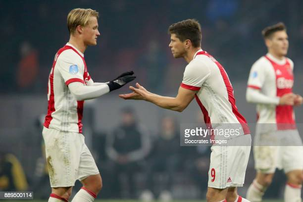 Kasper Dolberg of Ajax Klaas Jan Huntelaar of Ajax during the Dutch Eredivisie match between Ajax v PSV at the Johan Cruijff Arena on December 10...