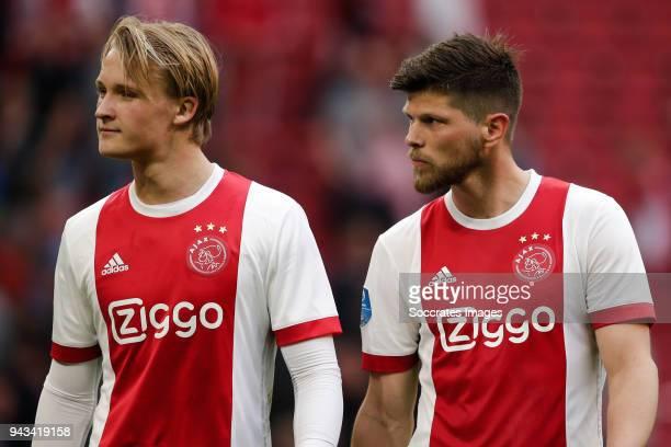 Kasper Dolberg of Ajax Klaas Jan Huntelaar of Ajax during the Dutch Eredivisie match between Ajax v Heracles Almelo at the Johan Cruijff Arena on...