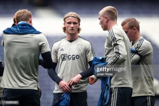 Kasper Dolberg of Ajax looks on during a training session ahead of their UEFA Champions League Semi Final first leg match against Tottenham Hotspur...