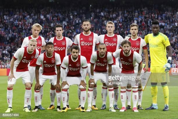 Kasper Dolberg of Ajax Nick Viergever of Ajax Mitchell Dijks of Ajax Matthijs de Ligt of Ajax Joel Veltman of Ajax goalkeeper Andre Onana of Ajax...
