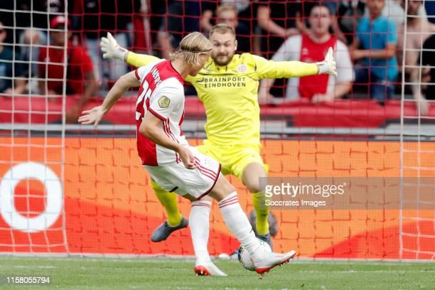 Kasper Dolberg of Ajax scores the first goal to make it 10 during the Dutch Johan Cruijff Schaal match between Ajax v PSV at the Johan Cruijff Arena...