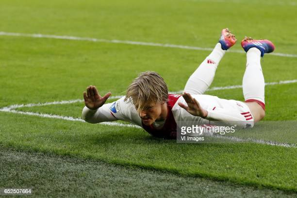 Kasper Dolberg of Ajaxduring the Dutch Eredivisie match between Ajax Amsterdam and FC Twente Enschede at the Amsterdam Arena on March 12 2017 in...